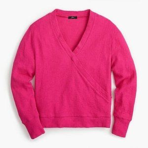 J. Crew Faux-wrap Top In Textured Crepe pink
